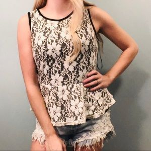 Forever 21 black lace peplum top size medium!